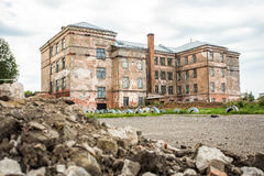 Old  ruins of abandoned school Stock Photo