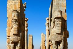 Old ruins of the ancient city Persepolis. Gate of all nations. Ancient Persia. Iran. Shiraz Royalty Free Stock Photography
