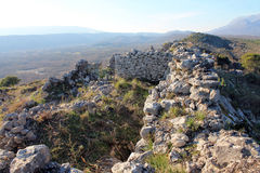 Old Ruins of Ancient Roman town in mountains (Montenegro, winter) Royalty Free Stock Photo