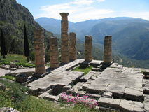 Old Ruins And Mountain Scenery Near Delphi Royalty Free Stock Photos
