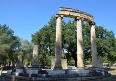 Old ruins of antique column of building in Olympia Royalty Free Stock Photography