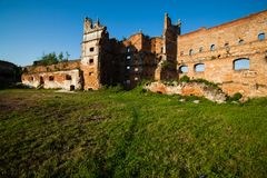 The old ruins of the collapsed walls with gates and windows Staroselskiy castle in Stare Selo. Lviv region, Ukraine Royalty Free Stock Photos