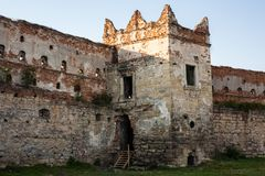 The old ruins of the collapsed walls with gates and windows Staroselskiy castle in Stare Selo. Lviv region, Ukraine Stock Photo