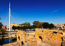 Old ruins and Footbridge. Murcia Royalty Free Stock Photo