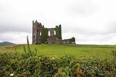 Old ruins of irish castle. On cloudy day Stock Images
