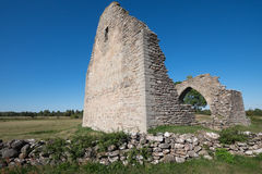 Old ruins of a medieval chapel in sweden Royalty Free Stock Photos