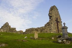 The old ruins of the original St Aidan`s Church at Bellerina in County Londonderry in Northern Ireland Stock Image