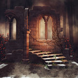 Old ruins with rose vines. Dark scenery with old ruins and rose vines in a dark forest Stock Images