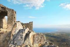 Old ruins (Sant Pere de Rodes, spain, costa brava). It is located at Sant Pere de Rodes Stock Photos