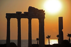 Old ruins in Side. Turkey at sunset royalty free stock images