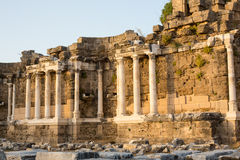 Old Ruins in Side, Turkey on evening Stock Images
