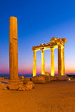 Old ruins in Side, Turkey at sunset Stock Photos