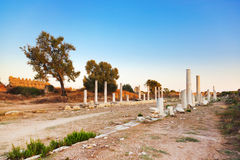 Old ruins in Side, Turkey at sunset Royalty Free Stock Photos