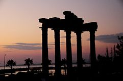 Old ruins in Side, Turkey. Sunset of old ruins in Turkey Stock Photos