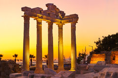 Old ruins in Side, Turkey at sunset Stock Photography