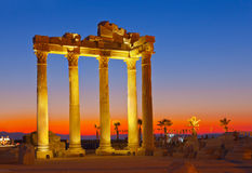 Old ruins in Side, Turkey at sunset Royalty Free Stock Images