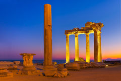 Old ruins in Side, Turkey at sunset Royalty Free Stock Photo