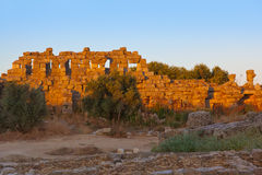 Old ruins in Side Turkey at sunset Royalty Free Stock Photo
