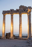 Old ruins in Side, Turkey at sunset - archeology background Royalty Free Stock Photography