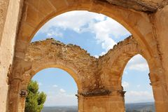 Old ruins in a small town in Teruel royalty free stock photos