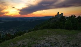 Castle and sunset royalty free stock photography