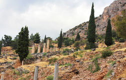 Old ruins and temple of Apollo, Greece Royalty Free Stock Photography