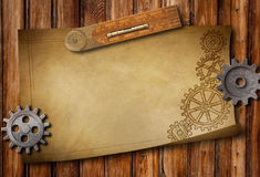 Old ruler, drawing and mechanical parts Stock Photos