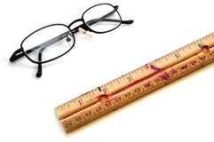 Old Ruler and Glasses for Education Royalty Free Stock Photo