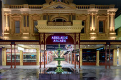 Old Rundle Mall Arcade Building at night. Adelaide, Australia - August 11, 2015: Adelaide's famous Rundle Mall Arcade Building at night time under the rain Stock Images