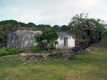 Old Rundown House. Run down house on Aitutaki stock photo