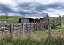 Old rundown shed and cattle yards Stock Images