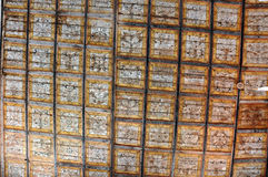 Old Runic letters on the ceiling of an Unitarian church Stock Images