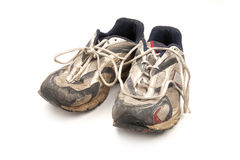 Old Runners. Pair of old worn out exercise runners or joggers Stock Images
