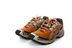 Old running shoes royalty free stock images