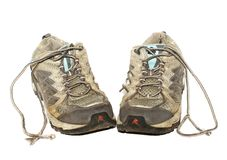 Old running shoes. A pair of dirty worn-out jogging shoes Stock Photography