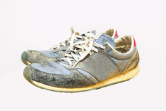Old running shoes isolate on a white background Stock Image