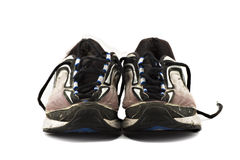 Old Running Shoes Isolated On White Royalty Free Stock Images