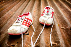 Old running shoes Royalty Free Stock Image