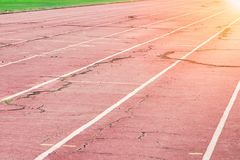 Old running track in stadiums for sport stock photos
