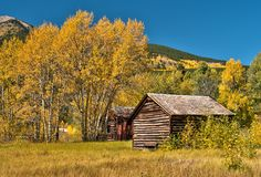 Rural Country Cabin in Colorado fall colors Royalty Free Stock Images