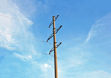Old rural electric lines pylon Royalty Free Stock Images