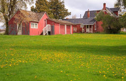 Old rural farm buildings. stock images