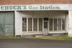 Old rural gas station. Old run down rural gas station front royalty free stock images