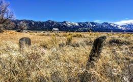 Old Rural Graveyard with Wooden Headstones Utah Royalty Free Stock Image
