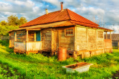 Old rural house. Old abandoned rural house in russian countryside Stock Photos