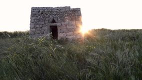Old rural house in southern italy with sun at sunset  - salento stock footage