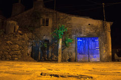 Old rural house, Spain. Nightview of old rural house in the little spanish town stock photo