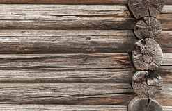 Old rural house wall made of rough logs Stock Photo