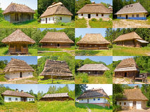 Old rural houses. Old houses in the countryside in Ukraine (Museum ''Pirogovo'' in Kiev royalty free stock image