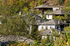 Old rural houses. Old traditional rural houses with stone roofs in Leshten, Bulgaria Stock Images